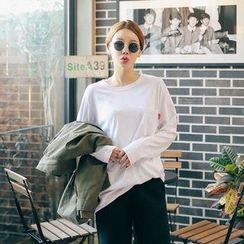 Seoul Fashion - Round-Neck Pocket-Front T-Shirt