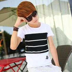 JVR - Short-Sleeved Stripe-Panel T-Shirt