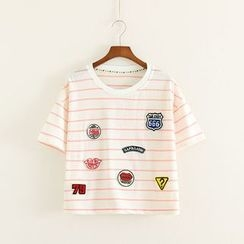 Mushi - Patched Stripe Cropped Short-Sleeve T-Shirt