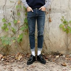 Seoul Homme - Fray-Hem Straight-Cut Jeans