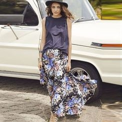 Hotprint - Floral Print Shirred Waist Maxi Skirt