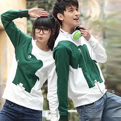 Igsoo - Couple Long-Sleeve Color Block T-Shirt