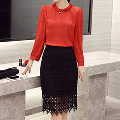 Romantica - Long-Sleeve Plain Frilled-Trim Top / Plain Pencil-Cut Skirt
