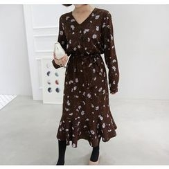Miamasvin - Flower Pattern Long Dress with Sash