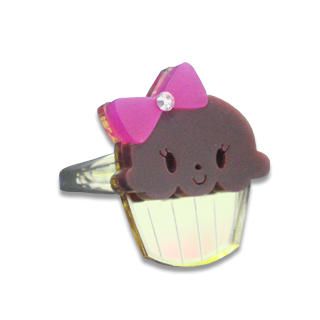 Sweet & Co. - Miss Cupcake Chocolate Crystal Gold Ring (S)