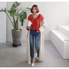 Miamasvin - Open-Front Wool Blend Long Cardigan