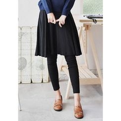 GOROKE - Inset Flare Skirt Leggings