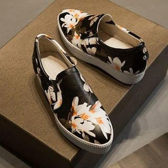 Colorful Shoes - Platform Floral Slip Ons