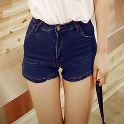 Amella - Ruffled Denim Shorts