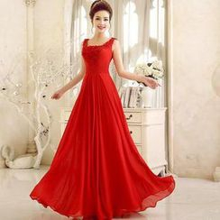 Luxury Style - Sleeveless Rosette A-Line Evening Gown