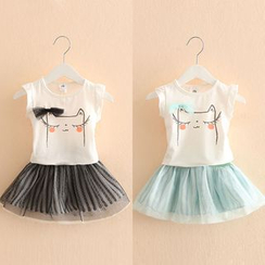 Seashells Kids - Kids Set: Printed Short-Sleeve Top + Tulle Skirt