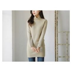 JUSTONE - Turtle-Neck Wool Blend Long Knit Top
