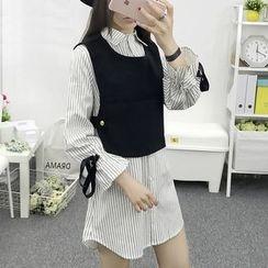 Cottony - 套装: 条纹衬衫裙 + 马甲