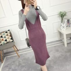 anzoveve - V-Neck Knit Midi Pinafore Dress