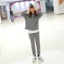 clicknme - Set: Brushed-Fleece Lined T-Shirt + Sweatpants