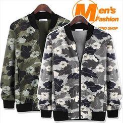 WIZIKOREA - Zip-Up Camouflage Baseball Jacket