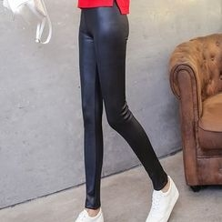 Jenny's Couture - Faux Leather Fleece-lined Leggings