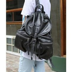 DANI LOVE - Dual-Pocket Faux-Leather Backpack
