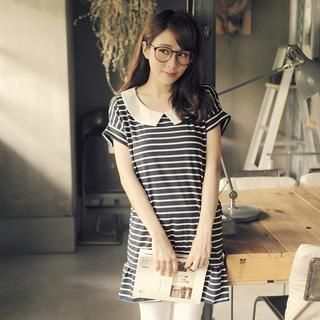 Tokyo Fashion - Contrast-Collar Striped Ruffle Dress