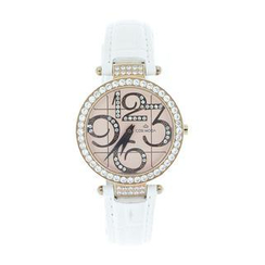 COSI MODA - Steel / Leather Watch with Cubic Zirconia