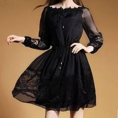 la nuit - 飾蕾絲長袖絲質連衣裙