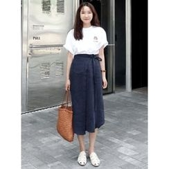 maybe-baby - Wrap-Front Linen Midi Skirt