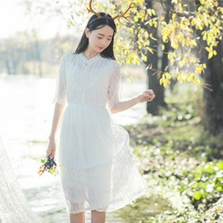 Sens Collection - Set: Elbow Sleeve Lace Midi Dress + Slipdress