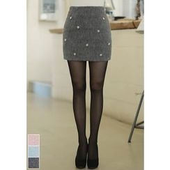 MyFiona - Beaded Furry Mini Skirt