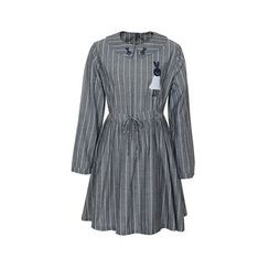 Flore - Embroidery Drawstring Striped Dress