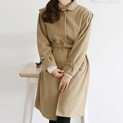 HAPPY CAT - Corduroy Trench Coat With Sash