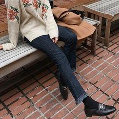 Seoul Fashion - Fringe-Hem Boot-Cut Jeans