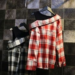 Jade Rabbit - Inset Tank Top Plaid Shirt