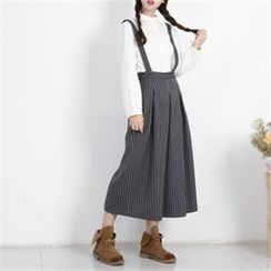 11.STREET - Striped Suspender Pants