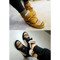 REDOPIN - Fleece-Line Knit-Trim Ankle Boots
