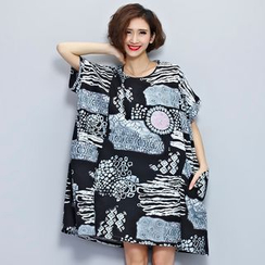 Carabecca - Print Short-Sleeve T-Shirt Dress