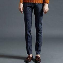 HEIZE - Check Straight-Leg Pants