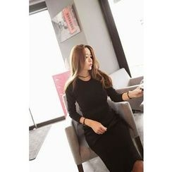Momnuri - Maternity Nursing Slim-Fit Knit Dress