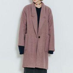 Heynew - Notch Lapel Long Woolen Coat