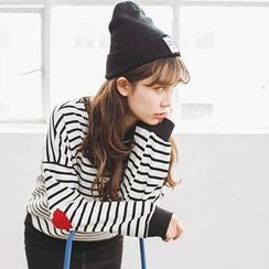 Ranche - Heart Applique Striped Sweatshirt