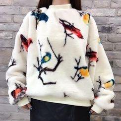 Tulander - Bird Print Furry Pullover