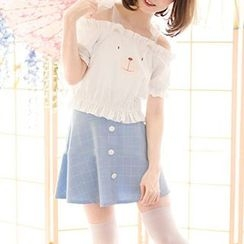 StaRainbow - Short-Sleeve Off Shoulder Top / A-Line Skirt