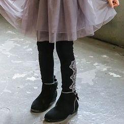 Cuckoo - Kids Lace Panel Fleece-lined Leggings