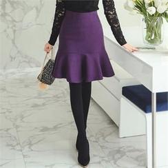 ode' - Ruffle-Hem Wool Blend Skirt