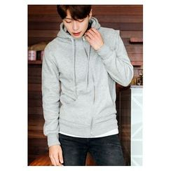 HOTBOOM - Kangaroo-Pocket Brushed-Fleece Lined Hoodie