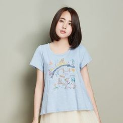 11.STREET - Embroidered Short-Sleeve T-shirt