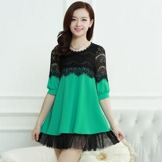Aierys - Elbow-Sleeve Lace-Panel Dress