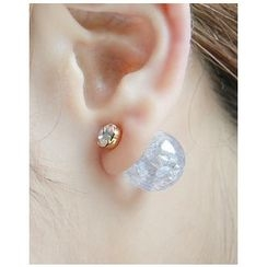 Miss21 Korea - Faux-Marble Ball Stud Earrings