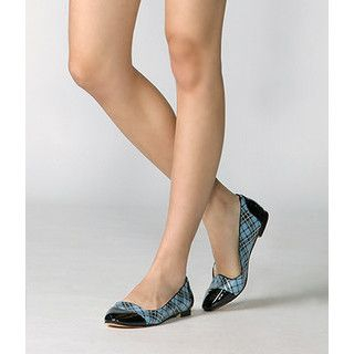 yeswalker - Patent Toe-Cap Plaid Flats