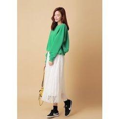 J-ANN - Lace-Overlay Pleated Long Skirt