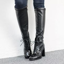 VIVIER - Lace-Up Chunky-Heel Long Boots